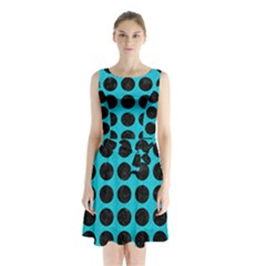 Circles1 Black Marble & Turquoise Colored Pencil Sleeveless Waist Tie Chiffon Dress