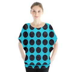 Circles1 Black Marble & Turquoise Colored Pencil Blouse
