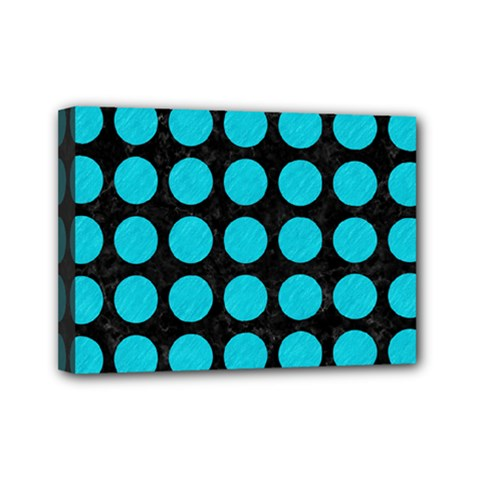 Circles1 Black Marble & Turquoise Colored Pencil (r) Mini Canvas 7  X 5