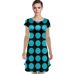 Circles1 Black Marble & Turquoise Colored Pencil (r) Cap Sleeve Nightdress