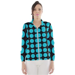 Circles1 Black Marble & Turquoise Colored Pencil (r) Wind Breaker (women)