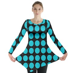 Circles1 Black Marble & Turquoise Colored Pencil (r) Long Sleeve Tunic