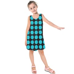 Circles1 Black Marble & Turquoise Colored Pencil (r) Kids  Sleeveless Dress