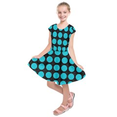 Circles1 Black Marble & Turquoise Colored Pencil (r) Kids  Short Sleeve Dress