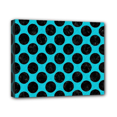 Circles2 Black Marble & Turquoise Colored Pencil Canvas 10  X 8