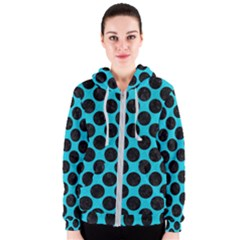 Circles2 Black Marble & Turquoise Colored Pencil Women s Zipper Hoodie