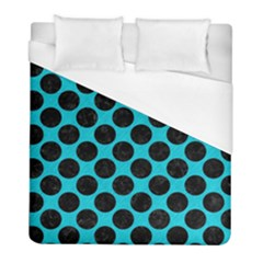Circles2 Black Marble & Turquoise Colored Pencil Duvet Cover (full/ Double Size)