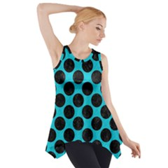 Circles2 Black Marble & Turquoise Colored Pencil Side Drop Tank Tunic