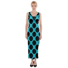 Circles2 Black Marble & Turquoise Colored Pencil Fitted Maxi Dress