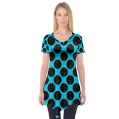 Circles2 Black Marble & Turquoise Colored Pencil Short Sleeve Tunic