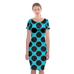 Circles2 Black Marble & Turquoise Colored Pencil Classic Short Sleeve Midi Dress