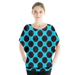 Circles2 Black Marble & Turquoise Colored Pencil Blouse