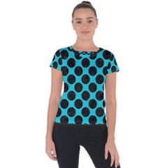 Circles2 Black Marble & Turquoise Colored Pencil Short Sleeve Sports Top
