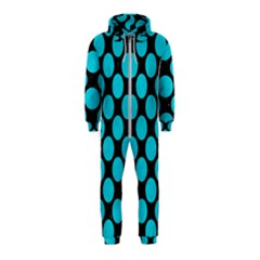 Circles2 Black Marble & Turquoise Colored Pencil (r) Hooded Jumpsuit (kids)