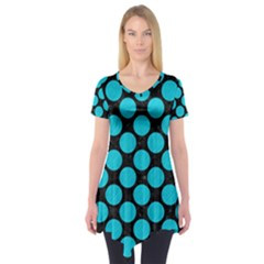 Circles2 Black Marble & Turquoise Colored Pencil (r) Short Sleeve Tunic