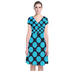 Circles2 Black Marble & Turquoise Colored Pencil (r) Short Sleeve Front Wrap Dress