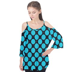 Circles2 Black Marble & Turquoise Colored Pencil (r) Flutter Tees