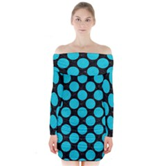 Circles2 Black Marble & Turquoise Colored Pencil (r) Long Sleeve Off Shoulder Dress