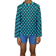 Circles3 Black Marble & Turquoise Colored Pencil Kids  Long Sleeve Swimwear