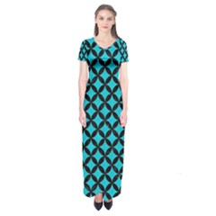 Circles3 Black Marble & Turquoise Colored Pencil Short Sleeve Maxi Dress