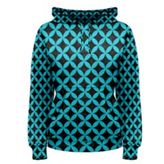 Circles3 Black Marble & Turquoise Colored Pencil (r) Women s Pullover Hoodie