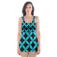 Circles3 Black Marble & Turquoise Colored Pencil (r) Skater Dress Swimsuit