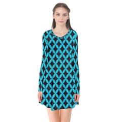 Circles3 Black Marble & Turquoise Colored Pencil (r) Flare Dress