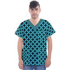 Circles3 Black Marble & Turquoise Colored Pencil (r) Men s V Neck Scrub Top
