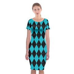 Diamond1 Black Marble & Turquoise Colored Pencil Classic Short Sleeve Midi Dress