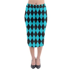 Diamond1 Black Marble & Turquoise Colored Pencil Midi Pencil Skirt