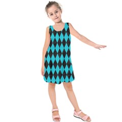 Diamond1 Black Marble & Turquoise Colored Pencil Kids  Sleeveless Dress