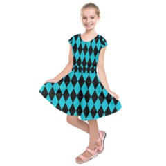 Diamond1 Black Marble & Turquoise Colored Pencil Kids  Short Sleeve Dress
