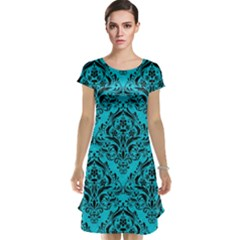 Damask1 Black Marble & Turquoise Colored Pencil Cap Sleeve Nightdress