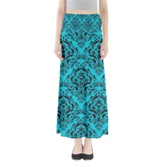 Damask1 Black Marble & Turquoise Colored Pencil Full Length Maxi Skirt