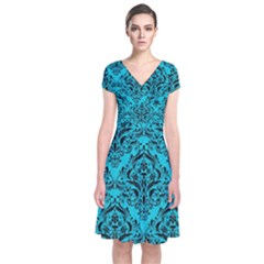 Damask1 Black Marble & Turquoise Colored Pencil Short Sleeve Front Wrap Dress