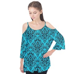 Damask1 Black Marble & Turquoise Colored Pencil Flutter Tees
