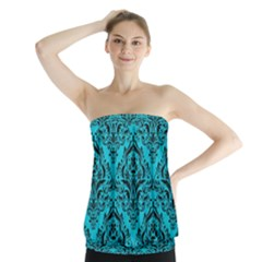 Damask1 Black Marble & Turquoise Colored Pencil Strapless Top