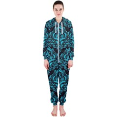 Damask1 Black Marble & Turquoise Colored Pencil (r) Hooded Jumpsuit (ladies)