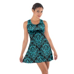 Damask1 Black Marble & Turquoise Colored Pencil (r) Cotton Racerback Dress