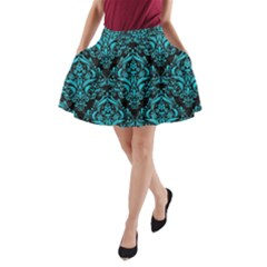 Damask1 Black Marble & Turquoise Colored Pencil (r) A Line Pocket Skirt
