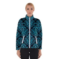 Damask1 Black Marble & Turquoise Colored Pencil (r) Winterwear