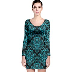 Damask1 Black Marble & Turquoise Colored Pencil (r) Long Sleeve Velvet Bodycon Dress