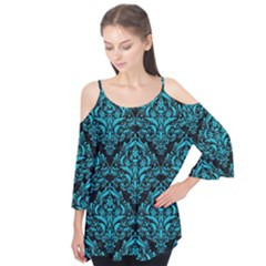 Damask1 Black Marble & Turquoise Colored Pencil (r) Flutter Tees