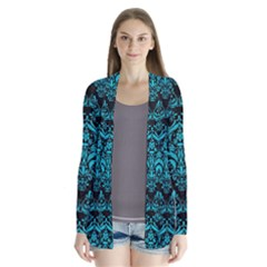 Damask1 Black Marble & Turquoise Colored Pencil (r) Drape Collar Cardigan