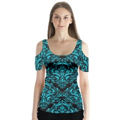 Damask1 Black Marble & Turquoise Colored Pencil (r) Butterfly Sleeve Cutout Tee