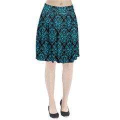 Damask1 Black Marble & Turquoise Colored Pencil (r) Pleated Skirt