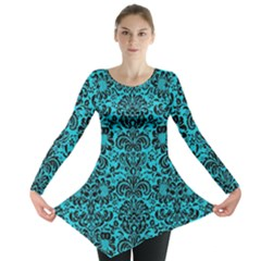 Damask2 Black Marble & Turquoise Colored Pencil Long Sleeve Tunic