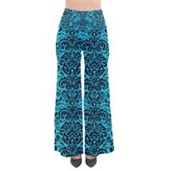 Damask2 Black Marble & Turquoise Colored Pencil Pants