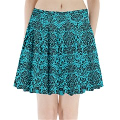 Damask2 Black Marble & Turquoise Colored Pencil Pleated Mini Skirt