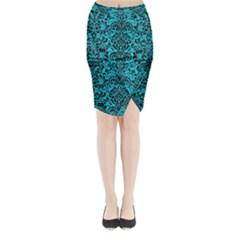 Damask2 Black Marble & Turquoise Colored Pencil Midi Wrap Pencil Skirt